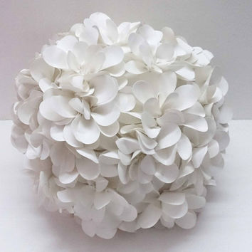 white flower pillow round pouf circular pillow fibre pillow nursery decor baby pillow sofa pillow bedroom decor wedding home decor gift