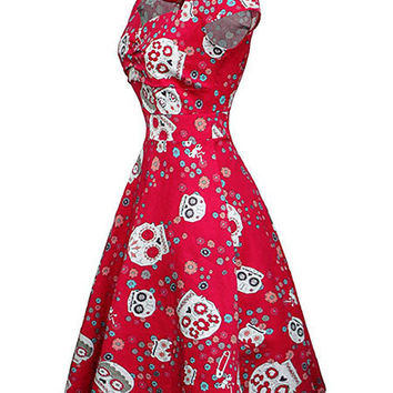 Sugar Skull Vintage Dress - 2 Colors - A Best Seller