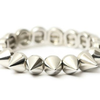 Spike Studs Stretch Bracelet Silver Tone BC04 Edgy Punk Charm Bangle Fashion Jewelry