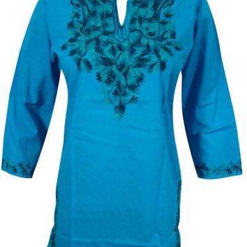 Boho Tunic Blouse Floral Embroidered Cotton Yoga Wear Indian Kurta for Women's S