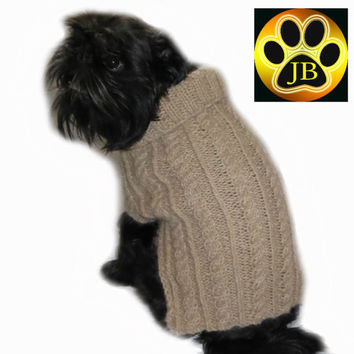 Dog coat sweater, handknitted, Beautifully soft Pure Alpaca Wool