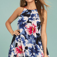 Here and Luau Navy Blue Floral Print Swing Dress