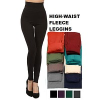 High Waist One Size Seamless Soft Cozy Stretchy Warm Fleece Leggings