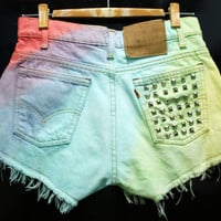 Rainbow Painted Dip Dyed Bleach Woman Denim Levi's High Waist Shorts