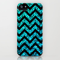 Chevron Aqua Sparkle (Not Real Glitter) iPhone & iPod Case by M Studio