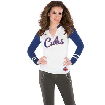 Touch By Alyssa Milano Chicago Cubs Ladies Sports Envy Long Sleeve Slub T-Shirt - Cream