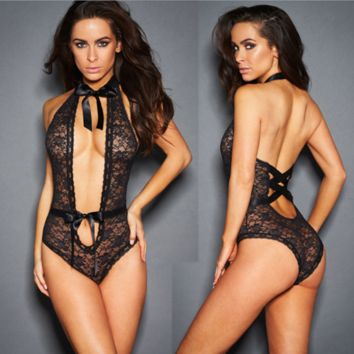 Women Temptation Perspective Lace Halter Deep V Backless Hollow Sleeveless Bow Bodysuit Erotic Lingerie