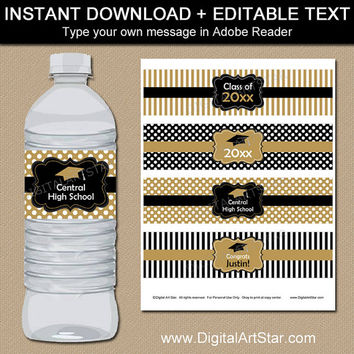Black and Gold Graduation Water Bottle Labels - Printable Graduation Water Labels - Digital Waterbottle Labels - You Print - Editable Text