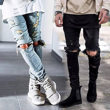 west denim jumpsuit designer clothes rockstar justin bieber ankle zipper destroyed skinny ripped jeans for men fear of god