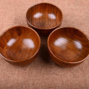 New Arrival Natual Wood Round Salad Bowl Kitchen Wooden Handmade Children Fruit Rice Bowl