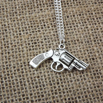 Silver Pistol Revolver Necklace- Bullet Jewelry- pistol necklace, country redneck, western style, firearm jewelry, 2a second amendment
