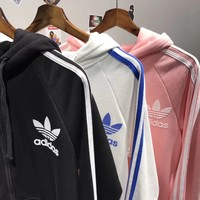 "Fashion ""Adidas"" Gray Hoodie Zipper Cardigan Tops Jacket Sweater Sweatshirts"