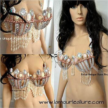 Pearl Princess Samba Cage Bra Cosplay Dance Costume Rave Bra Halloween Burlesque Showgirl