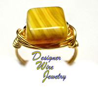 DWJ0298 Lovely Czech Glass Honey Topaz Gold Wire Wrapped Ring All Sizes