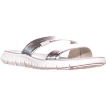 Cole Haan Zerogrand Two Strap Slide Sandals, Argento Silver/Optic White, 5 US