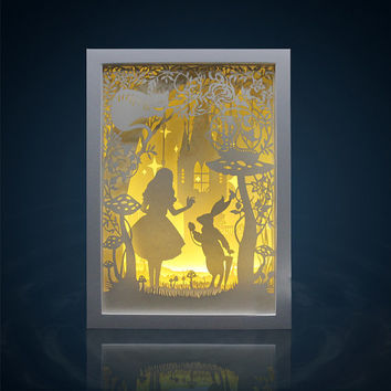 Lightbox Alice in wonderland paper cut Light box Night light Accent Lamp wedding birthday gift idea shadow box baby nursery girl room decor