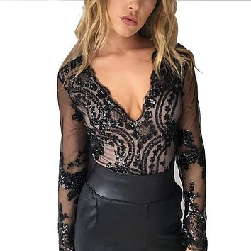2016 autumn gold sequin embroidery elegant jumpsuit romper transparent mesh sleeve playsuit women deep v neck overalls