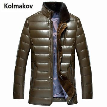 KOLMAKOV 2017 winter new men fashion thick Mink fur collar PU leather down jacket parkas,High quality 90% white duck down coat