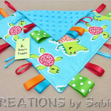 Handmade Dino Turtle Aligator Baby Taggie Ribbon Sensory Toy Tag Blanket by CREATIONSbySabine
