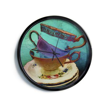 "AlyZen Moonshadow ""Mad Hatters T-Party I"" Turquoise Modern Wall Clock"