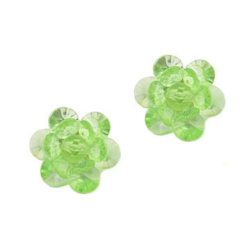 Green Plastic Faceted Western Germany Clip On Earrings