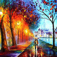 City By The Lake — Artistic Signed Print on Cotton Canvas By Leonid Afremov
