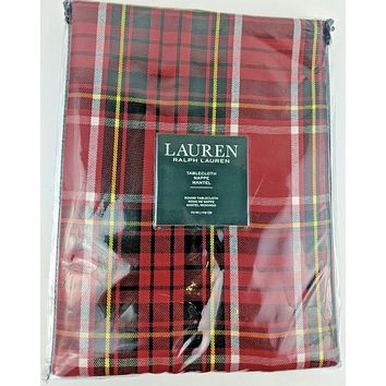 """70"""" Round Ralph Lauren Tartan Plaid Tablecloth Red / Black / Yellow / White New in Package"""