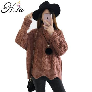 Women Sweaters Turtleneck Pull Jumpers Long Sleeve Knitted Sweater Wave edge Fashion pull
