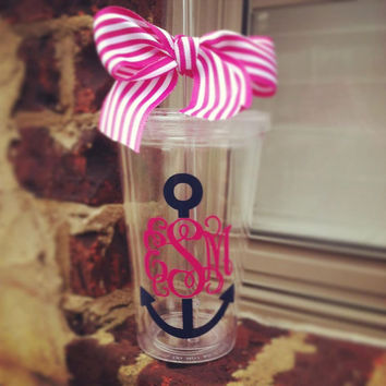 Preppy Anchor Monogram Tumbler by Tootlebugs on Etsy