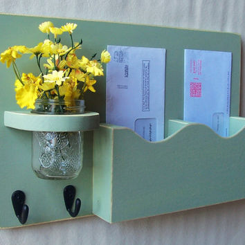 Mail Organizer - Mail Holder - Letter Holder - Double Slots - Key Hooks - Jar Vase - Organizer - Mail Holder