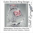 Cubic Zirconia Engagement Ring- 2.1 Carat Pink Princess Halo with Accented Prongs
