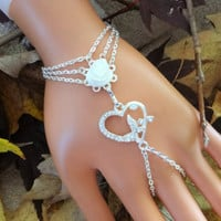 Butterfly Rose Slave Bracelet Ring, Hand Chain, Infinity Ring, Wedding, Prom, Body Chain, Body Jewelry, Custom