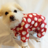 Dog Pajamas Large Polkadot Fleece Dog Pajamas   Several Colors Available