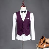 Men Suit Vest Purple Red Wedding Groomsmen Tuxedo Waistcoat Male Solid Dress Slim Fit For Man Formal Blazer Vest Man gilet