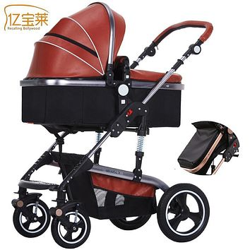 YIBAOLAI baby cart Leather stroller High landscape stroller Multi-gear adjustment Winter stroller Upgrade brake folding stroller
