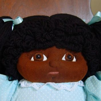 African American Black Baby Doll, Soft Sculpture Doll, Handmade Baby, Yarn Black Doll, Large Size Black Doll, One of A  Kind, Kuddly Kousin