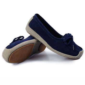 Spring autumn women shoes woman Hand-sewn Cow Suede flats cowhide Slip  single shoes Pregnant woman boat shoes