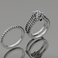 Black & White Diamond Engagement Set 14K White Gold with 6.5mm Round Brilliant Cut White Sapphire Ctr - V1027