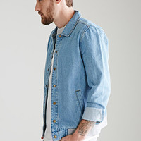 Collared Denim Bomber Jacket