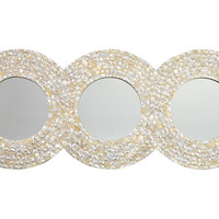 Mirrors, Three-Ring Wall Mirror, Pearl, Wall Mirrors