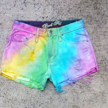 High Waisted Rainbow Denim Shorts size 10 Ripped Cut Off Jean Shorts