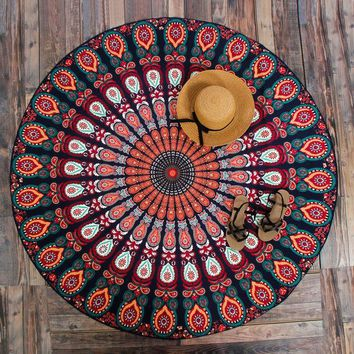 DCCKJG2 New Peacock Mandala Tapestries Hippie Tapestries Wall Art Hippie Indian Fashion