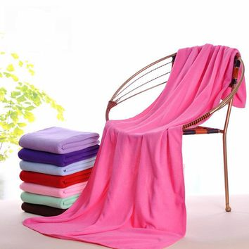 1pc Supersoft Microfiber Bath Towel Beach Towel Sports Gym Towel Fast Drying Cloth Extra Large 140x70cm 13 Colors Optional Day-F