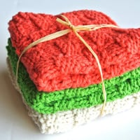 Knitted Cotton Washcloths, set of three, Italian flag colors, green, white and red, checkered pattern