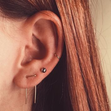 Double Piercing Threader Earrings, Double Lobe Earrings, Double Threader Earrings, Double Piercing, Two hole Earrings, Staple Earrings