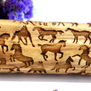 HORSE Embossing Rolling Pin, Engraved Rolling Pin, Embossed Rolling Pin, Gift, Pattern Roller, Dough Roller, Lazer Engraved, Cookie Big Size