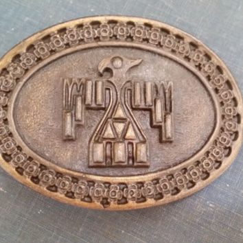 Vintage Round Brass Aztec Condor Bird Belt Buckle Great Vintage Style