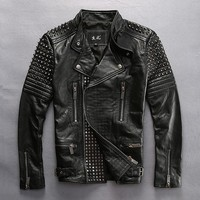 mens punk rivet motorcycle rider cow leather jacket male stylish genuine cowhide leather jacket