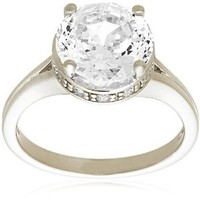 """Platinum Plated Sterling Silver """"100 Facets Collection"""" Solitaire Cubic Zirconia Ring, Size 6"""