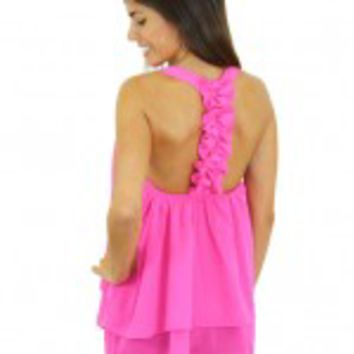 Pink Top With Ruffle Racerback